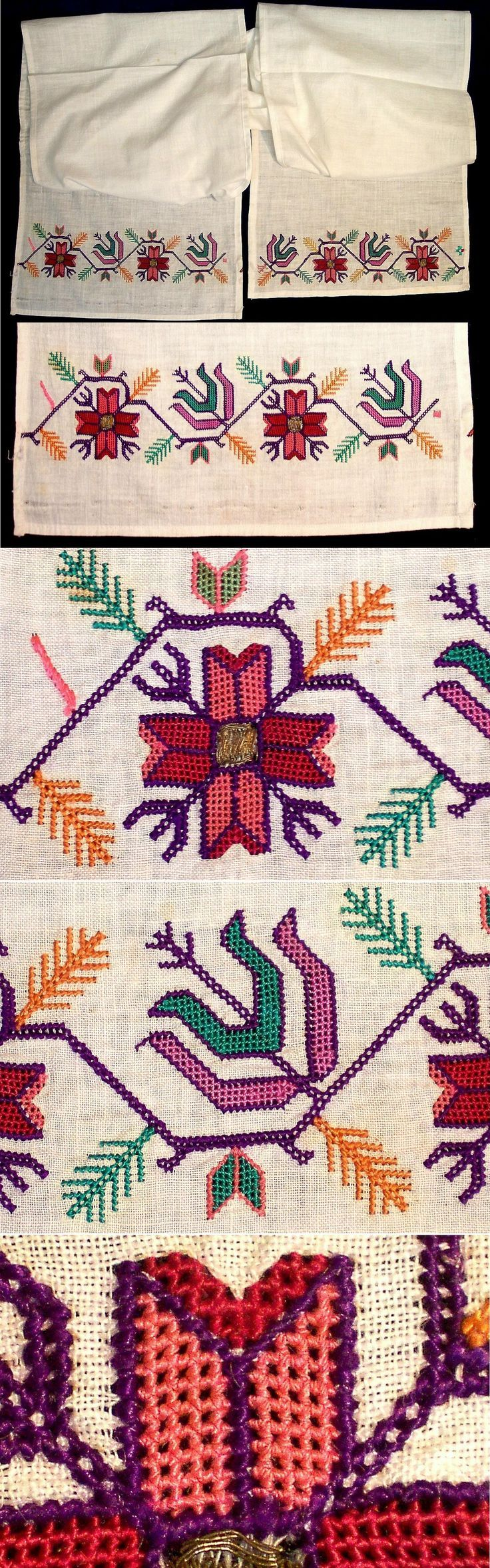 An 'uçkur' (sash / waist band), generally worn by women. From the rural Sakarya region (north of Bilecik), 1900-1950. Stylized vegetable motifs. Open work embroidery with polychrome silk on cotton. Small sections embroidered with 'gold' metal thread. Both embroidery techniques are 'two-sided' (identical on both sides). (Kavak Collection of Anatolian Textiles -Antwerpen/Belgium).