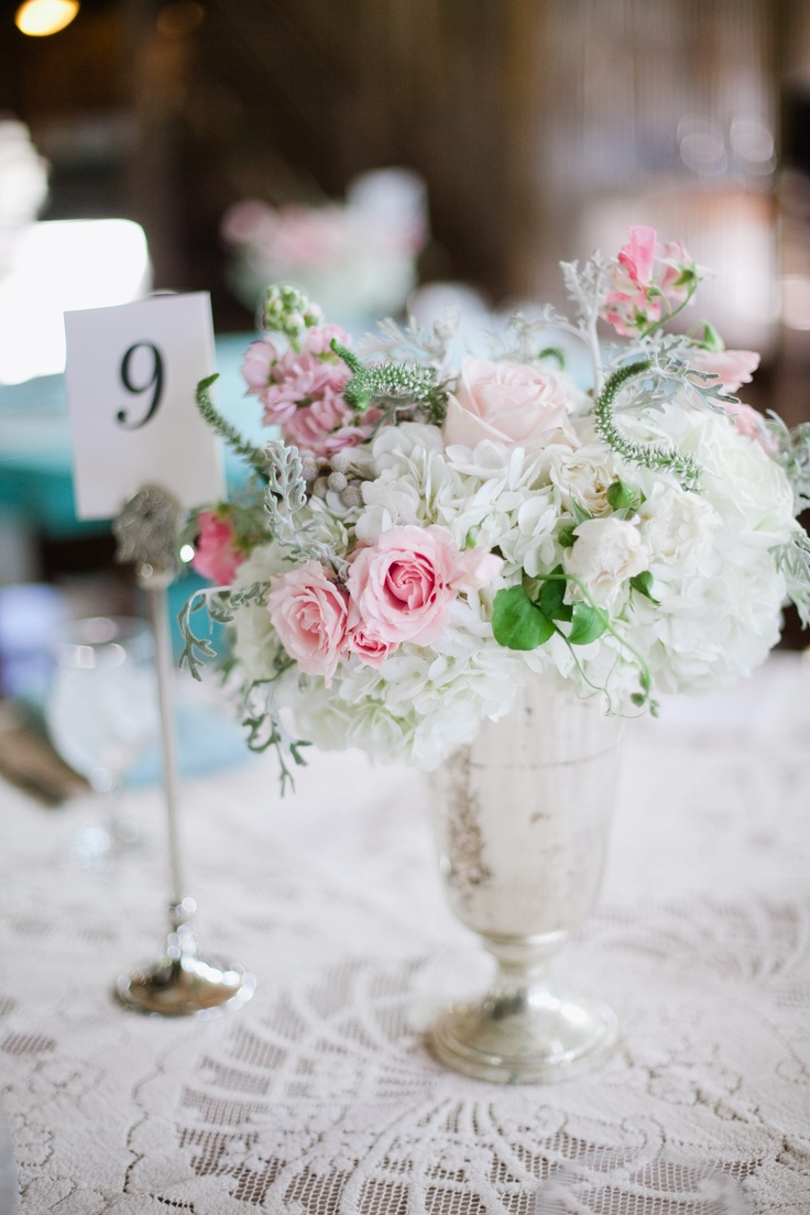 vintage whimsical #wedding centerpiece pink gray ivory and silver at Vista West Ranch