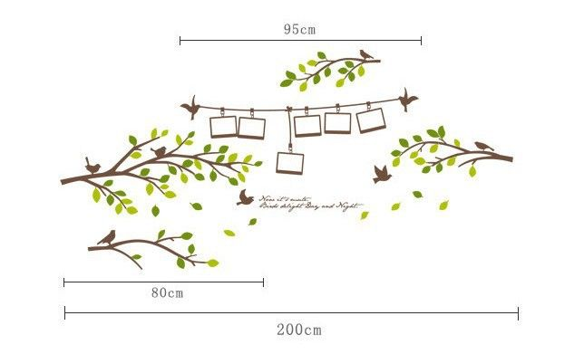 Photo Frame Tree Branch Birds Only Tree Removable wall sticker mural decal DIY home decor decoration wallpaper poster bedroom