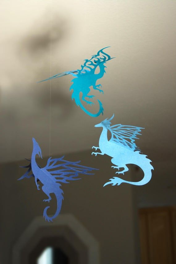 Hanging Dragons Party or Room Decoration – Teal, Navy and Storm Blue