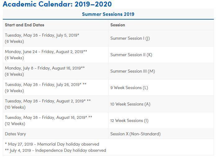 Ub Academic Calendar Academic Calendar Academics Calendar