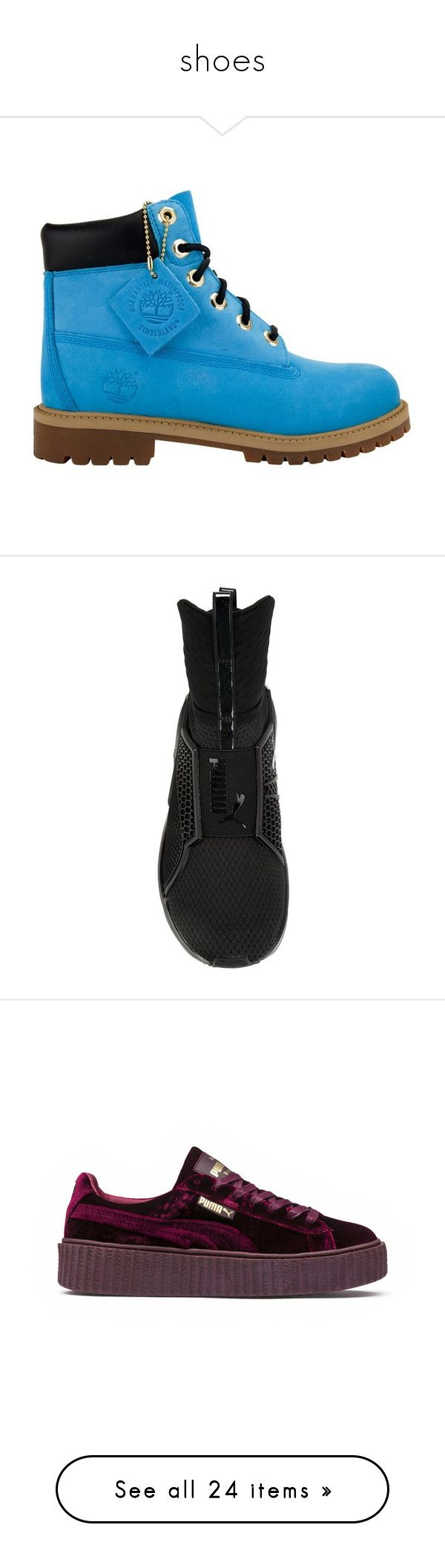 """""""shoes"""" by officialcass ❤ liked on Polyvore featuring shoes, boots, timberlands, tims, sneakers, puma sneakers, puma shoes, puma footwear, puma trainers and flats"""