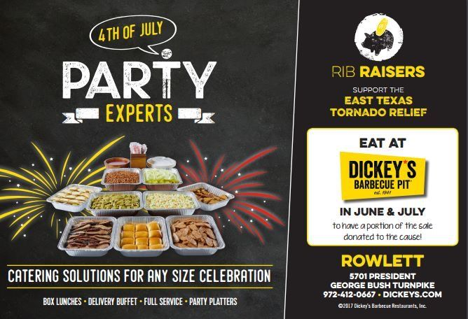 your 4th of JULY CATERING Headquarters  we'll deliver for a group of 10 or more!  Dickey's Barbecue Pit - Rowlett, Texas Catering Experts 972-412-0667 DickeysRowlett@tx.twcbc.com  Daily Special Deals $9.99 Mon-Sat, Kids Eat FREE Sun! FREE Ice Cream everyday!   #Catering #Barbecue #Restaurants #Marketing #dad #Wedding #Smoking #July4th  facebook.com/DickeysRowlett/photos/a.195787903827098.47183.186707924735096/1095581387181074/?type=3&theater