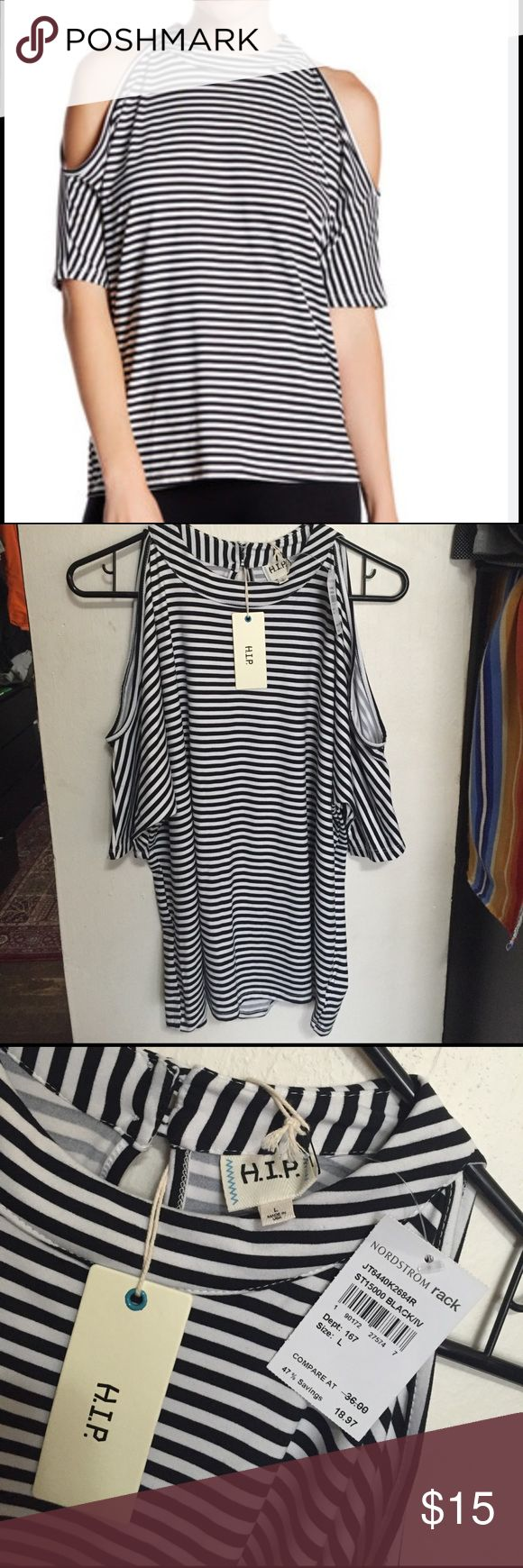 H.I.P. cutout shoulder b&w striped shirt Super cute, soft & good quality. Brand new, never worn, from nord rack. H.i.p. Tops