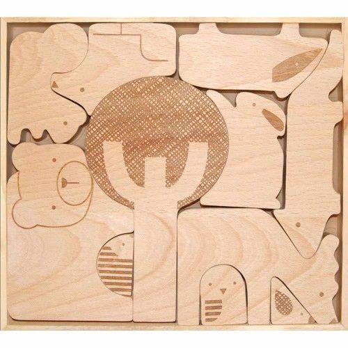 Træpuslespil, Skov, Petit Collage - Legetøj
