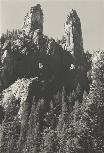 ANSEL ADAMS  Two Peaks, Cathedral Spires, circa 1935