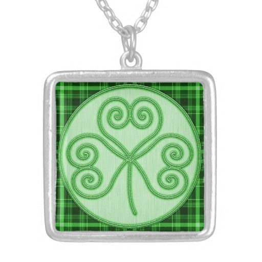 Green Plaid Border Shamrock Necklace