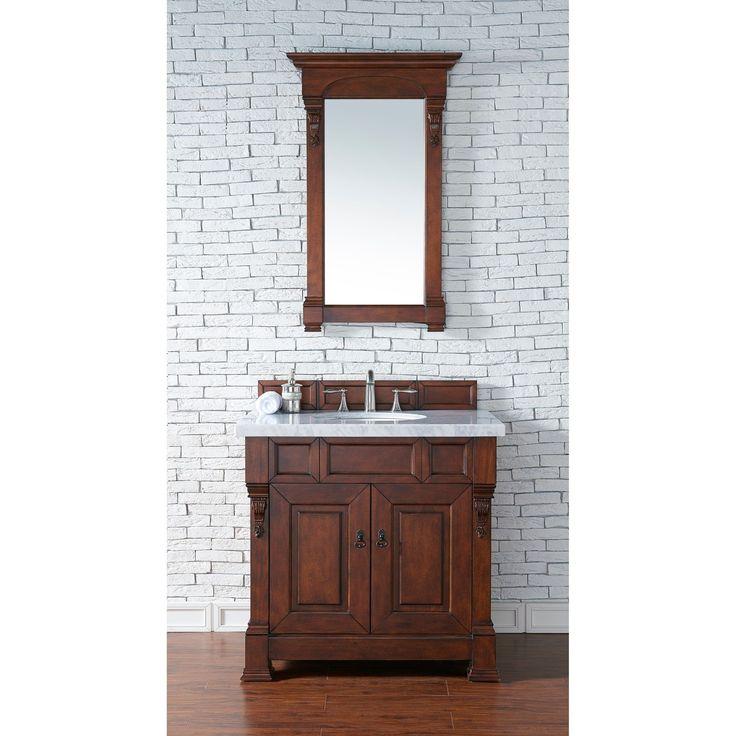 "James Martin Furniture Brookfield 36"" Warm Cherry Single Vanity with 4 CM Santa Cecilia Granite Top"