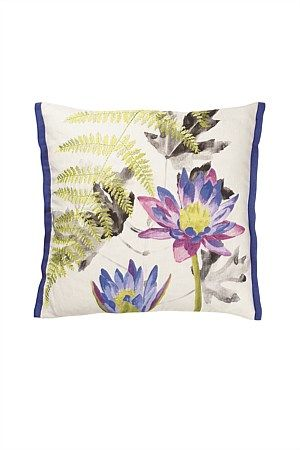 This vibrant Designers Guild floral cushion reproduces the sumptuous inky painted lotus artwork as a digital print on fine linen. Delicate archimia toned ferns are embroidered for added depth of character and feel.