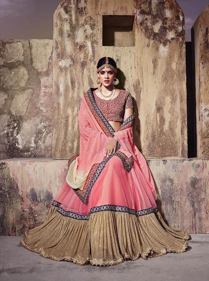 Cream, pink and golden georgette stylish saree with diamond and thread work