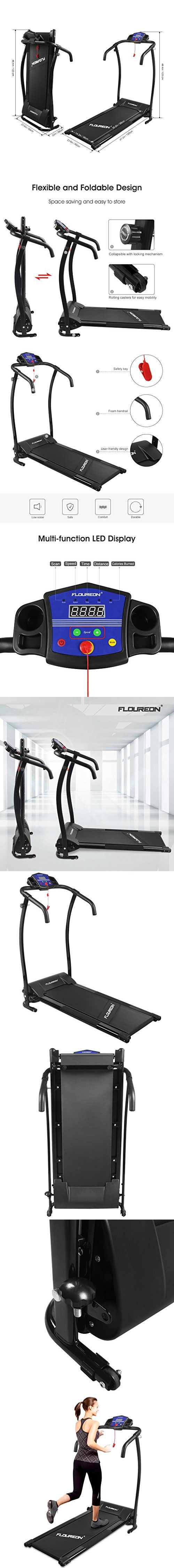 "Floureon Folding Electric Motorized Treadmill Running Jogging Walking Machine Portable Gym Equipment for Fitness and Exercise, 600W, 47.2x23.6x48.4"", Black"