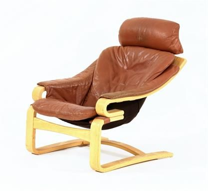 Danish 70 S Leather Lounge Chair Skippers Mobler Denmark Bent Wood With Upholstery See More