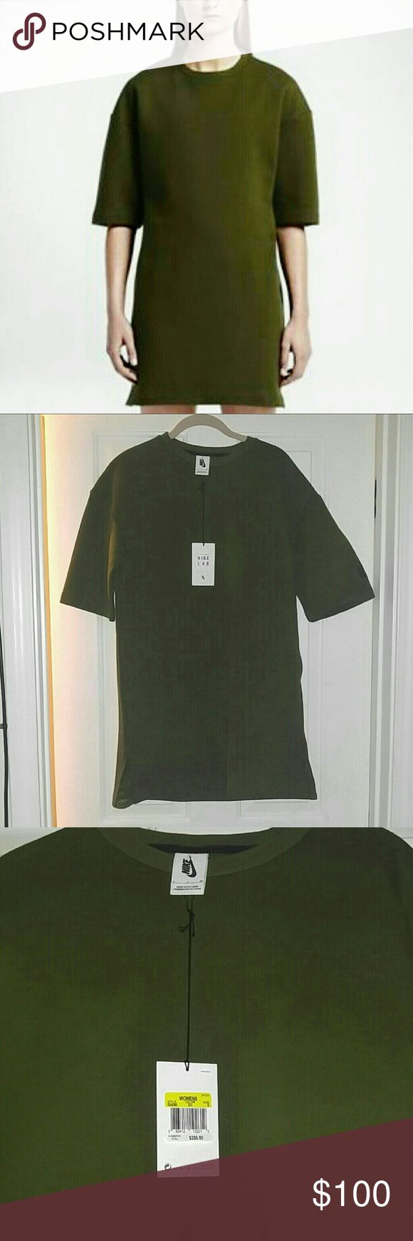 NIKE NIKELAB TECH FLEECE DRESS This is New with tag in olive green. Short sleeve. Stops above knee or mid thigh depending on height Nike Dresses
