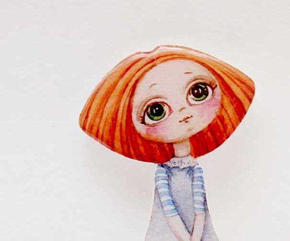 Spedizione gratuita gioielli Girly di Girly spilla pin regalo di ragazza dai capelli rossi per la sua spilla Clay regali sotto 25 (0087)