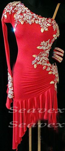 Competition Ballroom Latin Cha Cha Ramba Dance Dress US 8 UK 10 Red Sliver Color
