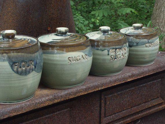 Pottery Ceramic Canister Sets Custom by KbOriginalsetc on Etsy, $150.00