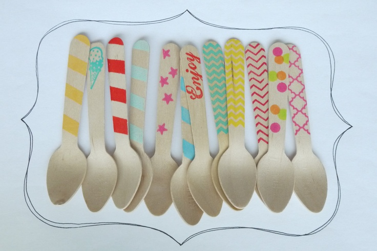 20 Wooden Ice Cream Spoons -Variety Pack - Great Alternative To Plastic Utensils. $6.00, via Etsy.