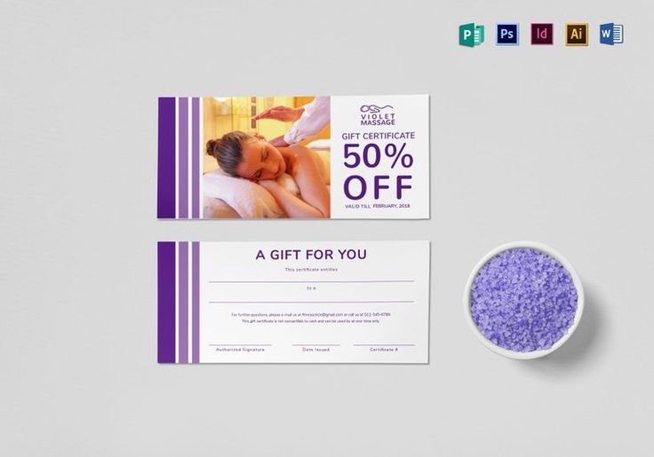 Massage Gift Certificate Template  $12  Formats Included : Illustrator, MS Word, Photoshop, Publisher, InDesign  File Size : 9x4 Inchs #Certificates #Certificatedesigns #Giftcertificates