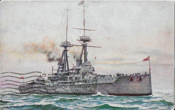 HMS ST. VINCENT, ANTIQUE HUNDRED YEAR OLD POSTCARD w Edwardian 1c Stamp 1916