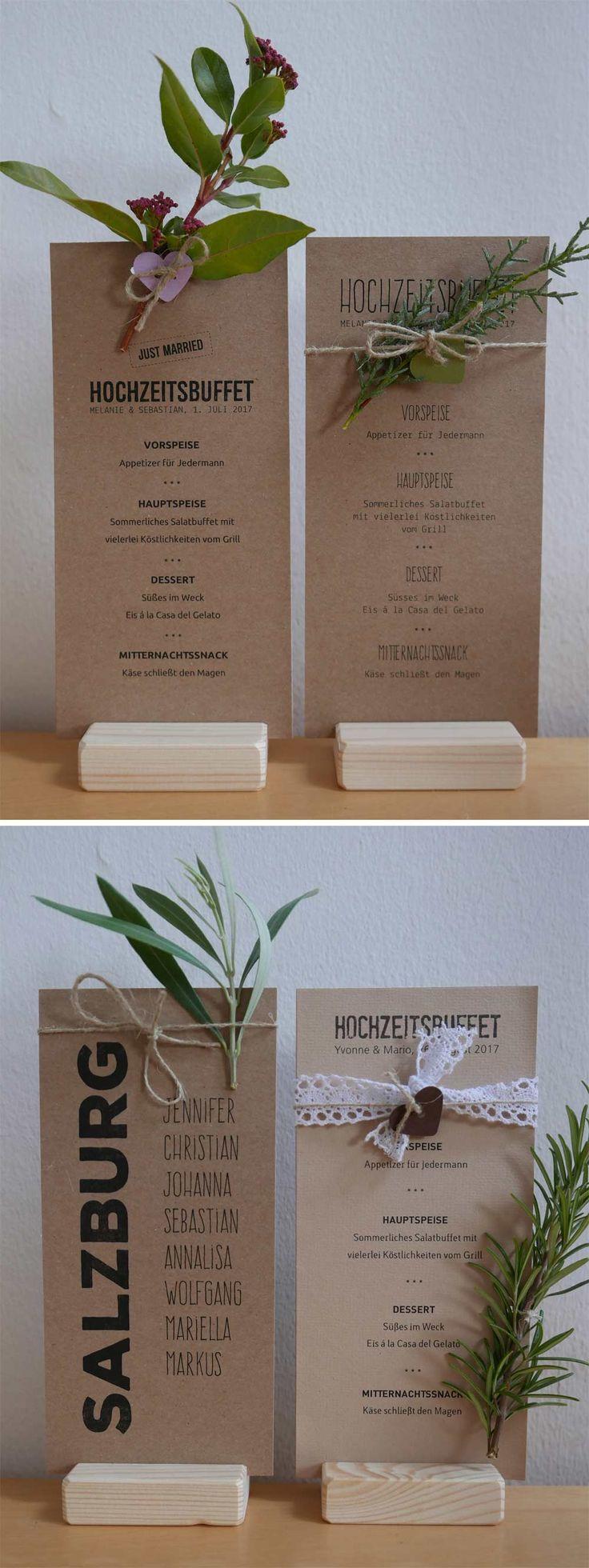 Menükarte HEAVN aus Kraftpapier mit Blumen und Zweigen verziert / rustic Kraft menu wedding card with flowers
