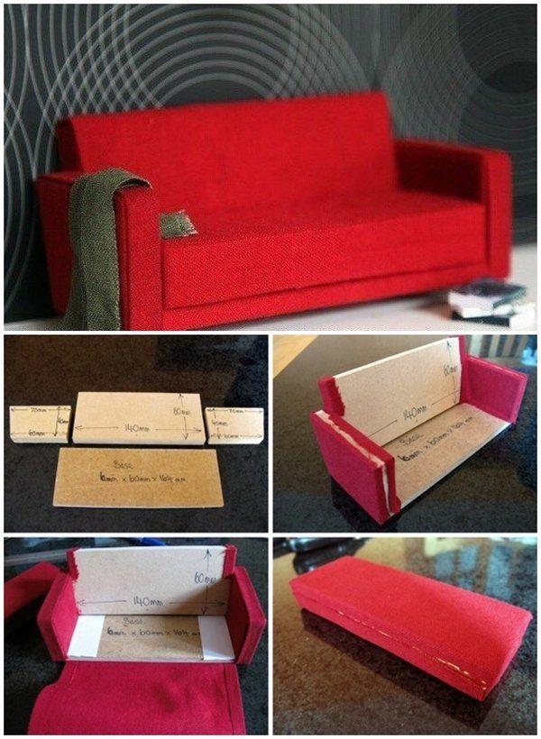 DIY Barbie furniture and DIY Barbie house ideas how to make dollhouse sofa