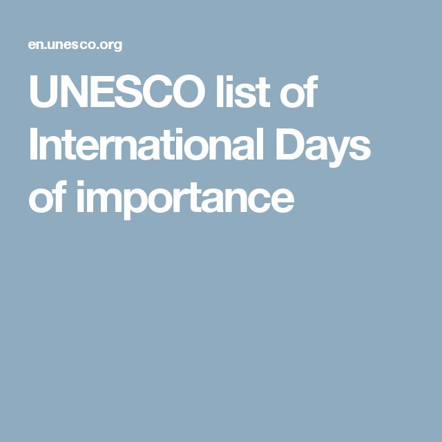 UNESCO list of International Days of importance