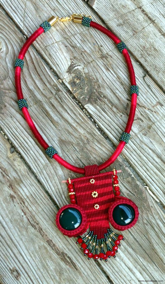 Macrame Necklace...  Red Necklace..Apparatus Gold by NazoDesign, $60.00
