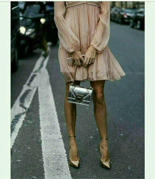 baby pink dress + gold stiletto