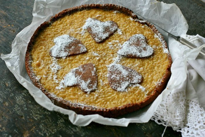 Rice tart with almond chocolate crust by @La petite casserole