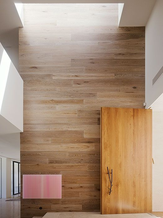 Smoked & Limed American Oak timber on the wall feature by Royal Oak Floors.  www.royaloakfloors.com.au  Photo: Peter Bennetts
