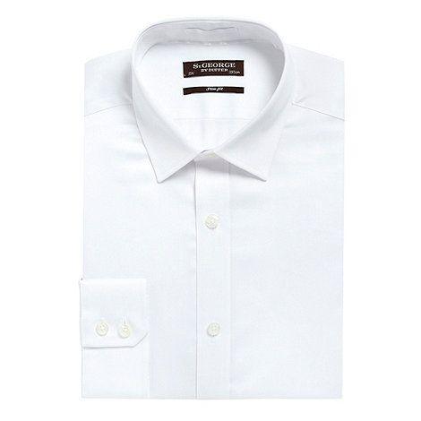 "St George by Duffer white slim fit plain sateen shirt- at Debenhams.com - 16"""