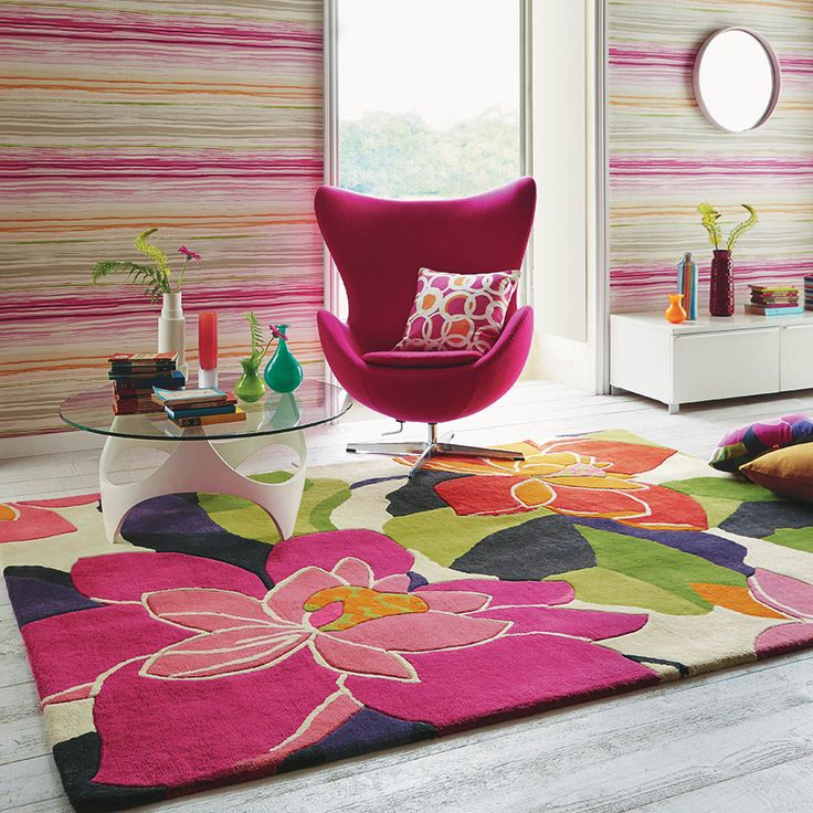 Renowned for their flourishing and graceful designs, Scion rugs. #FloralRugs #PinkRooms