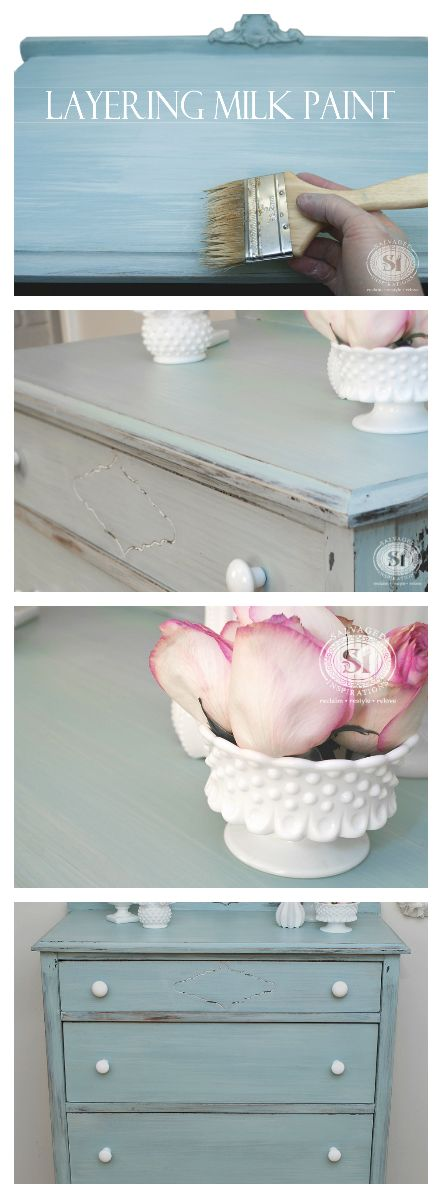Beautiful Painted Finish by Layering Milk Paints!   Salvaged Inspirations