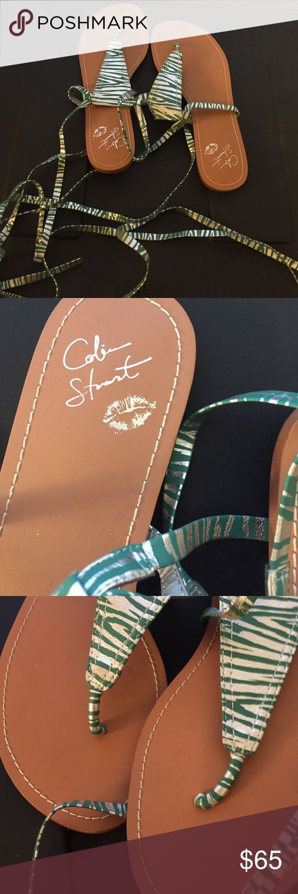 Colin Stuart wrap around sandals Brand new never worn green and silver sandals that can be worn a multitude of ways. Tie around ankles or up to mid calves. Colin Stuart Shoes Sandals