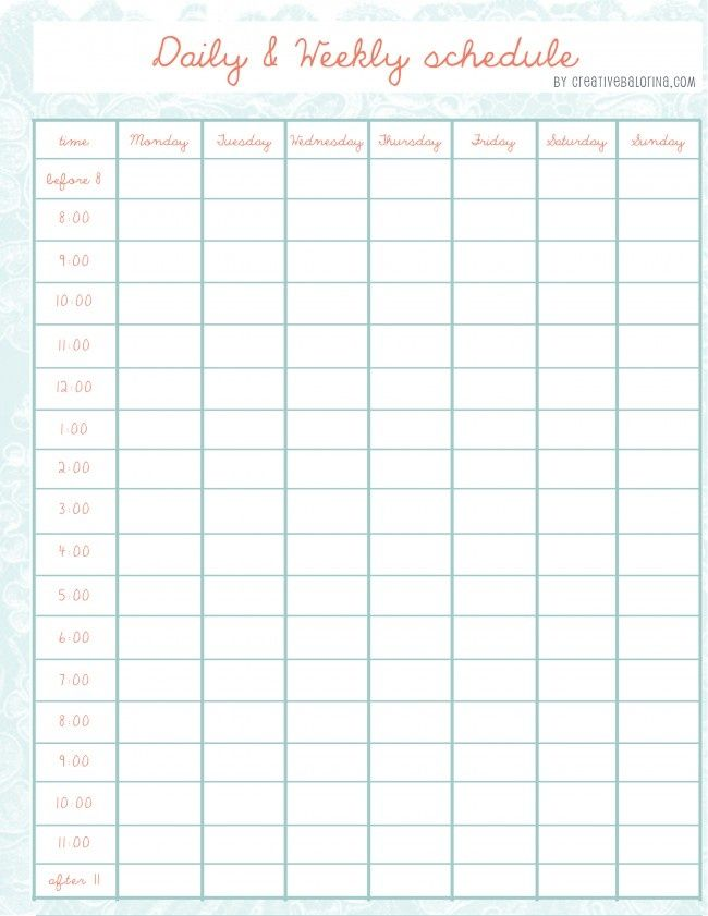 cute weekly schedule travel chart