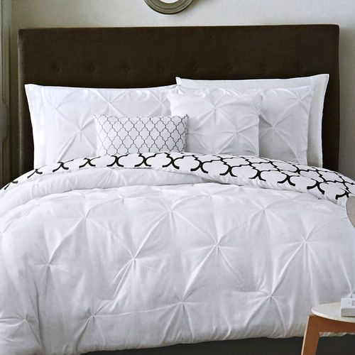 5 Piece Madrid Reversible Solid Pintuck Comforter Set, White, Queen