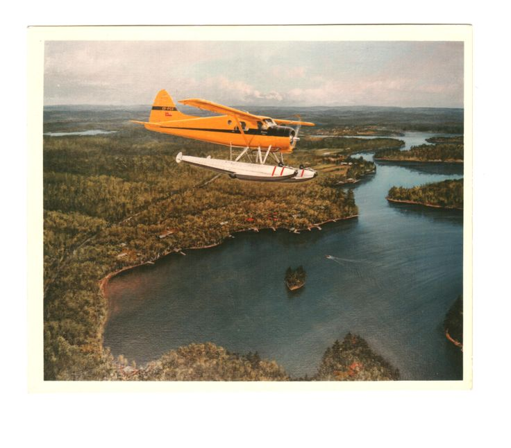 Original Painting of Mr Garratts Beaver flying over his cottage on Lake of Bays Muskoka.