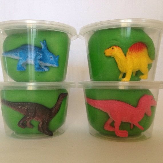 6 Dinosaur Play Dough Party Favours. Personalised Dinosaur Party Favours - All…