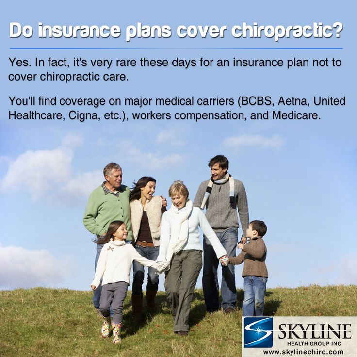 Do Insurance Plans cover Chiropractic?  Yes. in fact, it's very rare these days for an Insurance Plan not to cover Chiropractic Care. You'll find coverage on major carriers (BCBS, AETNA, UNITED HEALTHCARE , CIGNA, etc.) , Workers Compensation , and Medicare.