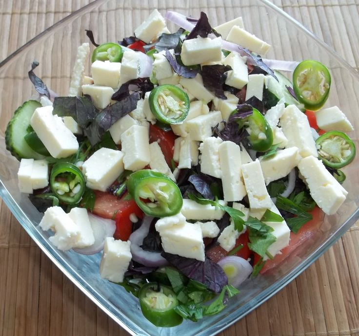 Traditional Georgian Salad with Cheese