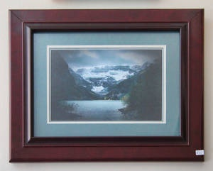 "Lake Louise Giclée framed print. Triple Matted  9"" x 6"" in a 12"" x 9"" frame.  Photo taken by Carl Brownell/Joe-Lynn Design.  Printed and framed by Carl Brownell/Joe-Lynn Design.    A great buy at $80.00 Firm    Ready to hang.    Our prints are sold by square inch so we have a print for everyone's budget.    Call 204-586-4738    Find more images at www.joe-lynn.com/  We do custom matting and framing as well as Giclée fine art and canvas prints."