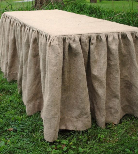 great tableskirt from etsy seller paula and erika...they make round ones too!