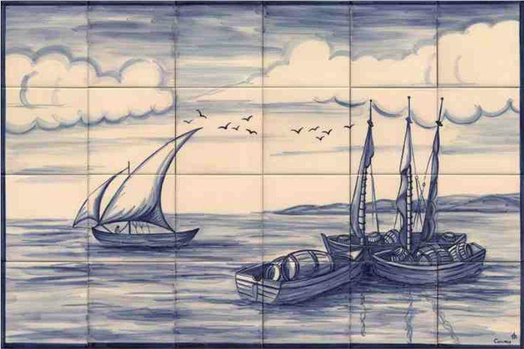 #azulejos #bateau réf: cerb_134_3_1  #mer #carrelage #tile #boat #sea #decoration #bleu #blue