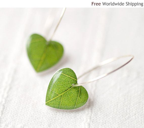 Green leaf earrings - The picture is printed on polymer clay and protected with a cover of glossy resin. Small hearts are sculptured by hand and have smooth shiny surface. Earrings are lightweight so they perfectly fit for everyday wear. Decorative round ear wires are silver plated.