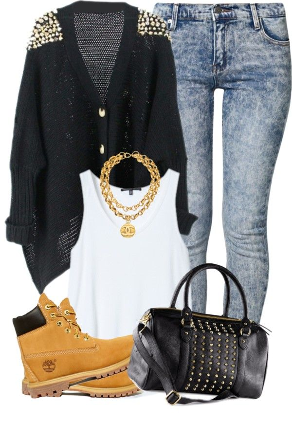Denim Wash Jeans, White Tank, Black/Gold Studded Cardigan, Black/Gold Studded Purse, Gold Chain, Wheat Timbs