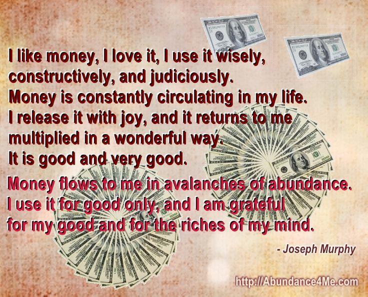 Money flows to me in avalanches of abundance... #affirmations #abundance #josephmurphy