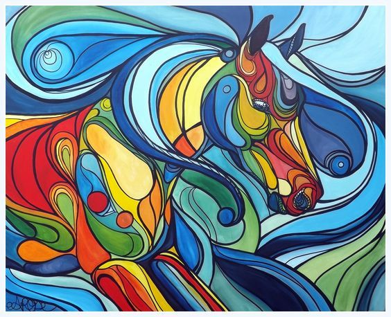 Colours of the Wind' colourful abstract horse running in a stained ...