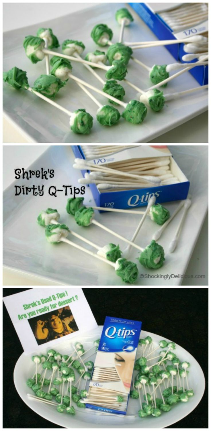 How to make Shrek's Dirty Q-Tips for a suitably disgusting Halloween party dessert that will have people shuddering | ShockinglyDelicious.com