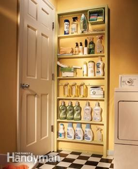 12 Simple Storage Solutions Behind the Door Storage Shelves On the way to the basement.  Use that space for storage.