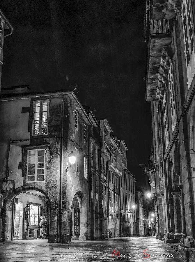 Street in the old town. Santiago de Compostela, Galicia, Spain.